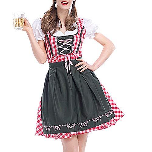 Trachtenkleid Damen, Plot Deutsch Oktoberfest Mode Frauen Kurzarm Bandage Dirndl Bluse Partykleider mit Schürze Set Kleider Cosplay Dienstmädchen Kostüm