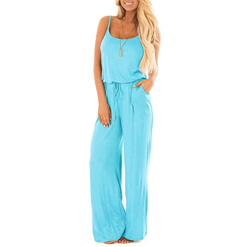 09faeb8d88 sullcom Women Summer Solid Sleeveless Wide Leg Jumpsuit Casual Spaghetti  Strap Stretchy Long Pant Rompers