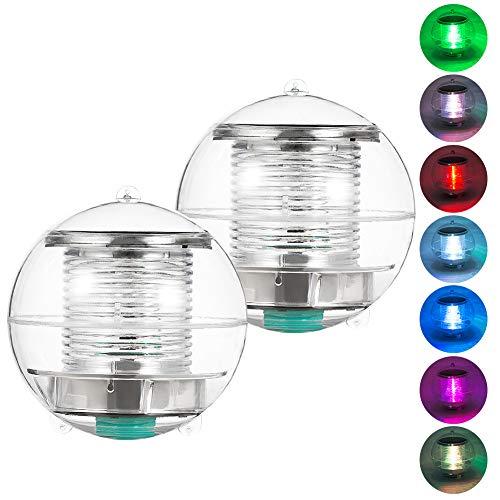 Coquimbo Pool Licht Solar Lampe LED Solar Wasserdicht Schwimmbecken Licht Unterwasser Farbwechsel RGB Ball Lampe für den Garten, Baum, Teich Schwimmbad (2 pack)