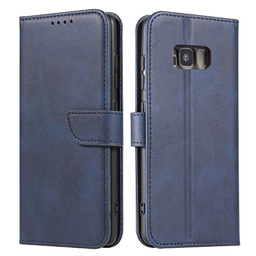 ANCASE Funda de Cuero Compatible con Samsung Galaxy S5 Azul con Tapa Libro PU Case Cover Completa Protectora Funda para Teléfono Piel Tarjetero Modelo