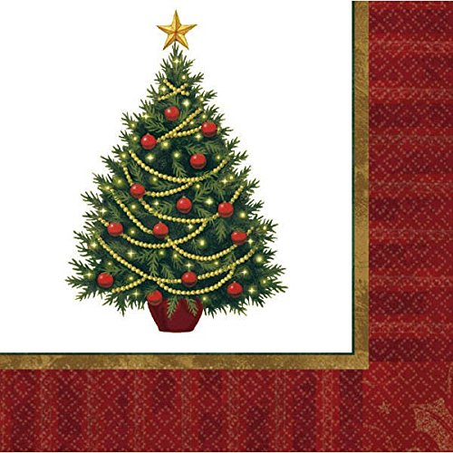 amscan Christmas Tree Beverage Paper Napkins Value Pack, 100 Ct.   Party Tableware