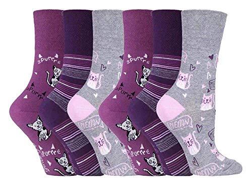 Gentle Grip - calcetines mujer sin goma colores fantasia estampados de algodon tamaño 37-42 eur (GG200)