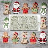Molde de silicona para galletas de Navidad, diseño de Papá Noel, reno y muñeco de nieve