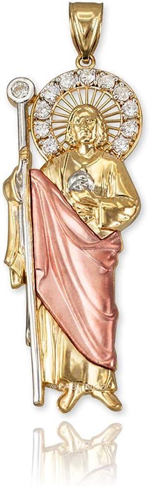 14K Tri-Color Gold Saint Jude CZ Pendant Necklace (Pendant only)