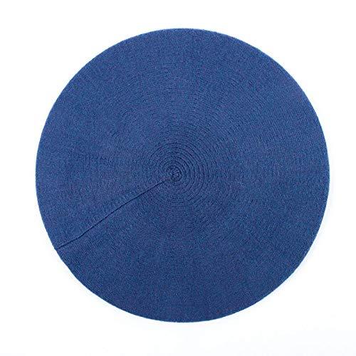 WAZHX Sombrero De Boina Francesa para Mujer, Boinas De Lana De Punto Negro Liso Casual De Primavera para Mujer, Gorro De Boina De Artista De Punto Azul