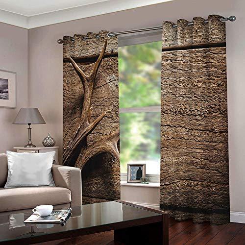 Gordijnen ondoorzichtig gewei op houten plank, verduisteringsgordijn, oogjes, gordijn, polyester, ondoorzichtig, koude- en warmte-isolatie, isolatie gordijn, slaapkamer, set van 2 280cm Width x 180cm Drop