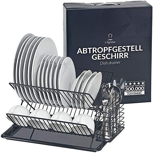 Chefarone Abtropfgestell Geschirr pulverbeschichtet und rostfrei - Geschirrabtropfgestell mit Abtropfschale und Besteckkorb - Geschirr Abtropfständer (Schwarz)