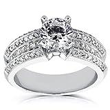 Anillo de compromiso de diamantes redondos y princesa 2 2/5 CTW en oro blanco de 14 k_6.5