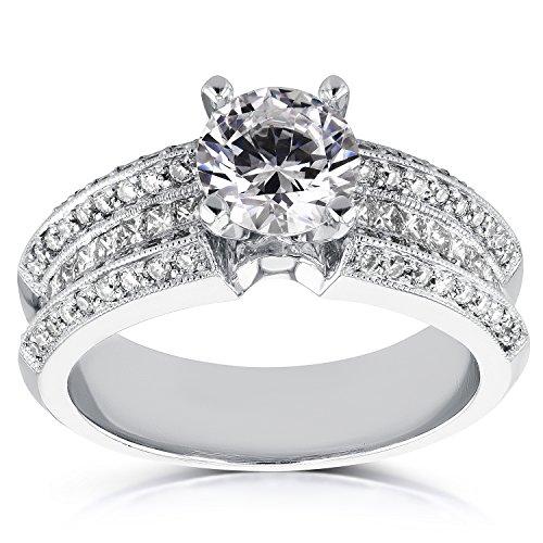 Anillo de compromiso de diamante redondo y princesa de 2 2/5 quilates en oro blanco de 14 quilates, 6,5