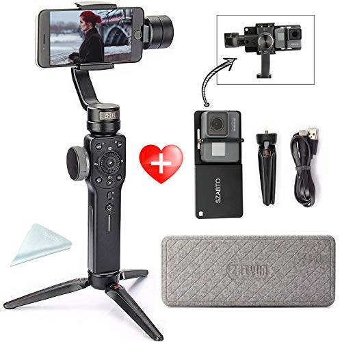 Zhiyun Smooth 4 Estabilizador de movil, Smartphone Gimbal 3 Ejes de Bolsillo Estabilizador para iPhone Plus 8 7 6,Xiao MI, Huawei Samsung Galaxy S9 S9 + S8 S8 + Note 8, para GoPro Hero 8 7 6 5 4 3
