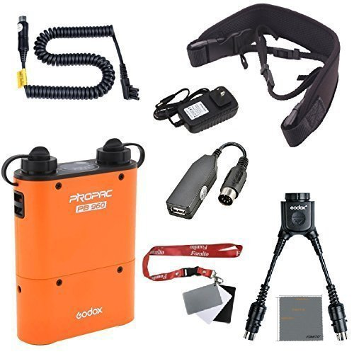 Fomito Godox PB960 Portable Extended Flash Power Battery Pack Kit Dual Output for Nikon SB910, SB900, SB800, SB28 Euro, SB28DX, SB80DX,for AD360 AD180, for Mobile Phone Orange