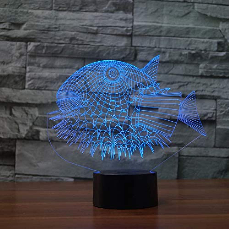 Wuqingren 3D Acryl Fisch Modellierung Led 7 Farben Stimmung Tier Nachtlicht USB Schreibtischlampe Für Kinder Geschenk Nacht Dekor,Remote und berühren