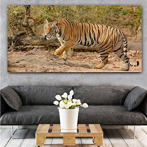 wZUN Carteles e Impresiones de Tigre de Animales Salvajes Modernos africanos Arte Mural Lienzo Pintura Sala de Estar decoración de Pared 50x100 cm