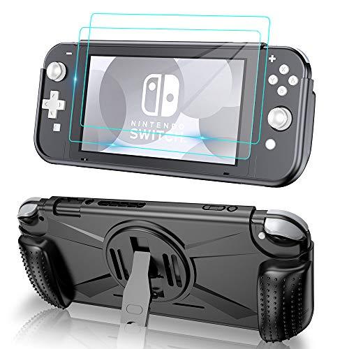 VersionTECH. Schutzhülle für Nintendo Switch Lite 2019 mit 2 Displayschutzfolien aus gehärtetem Glas, Griffschale mit 2 Kartenfächern (stoßfest, hitzebestrahlt), HD-Klarfolie (TPU Anti-Kratzer)