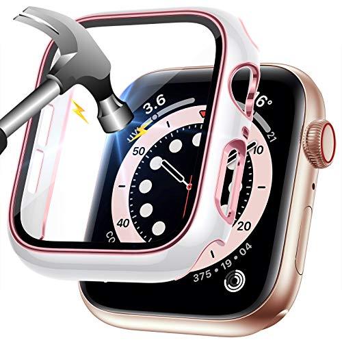 LORDSON Funda Compatible con Apple Watch Series SE   6 5 4 40 mm, Estuche de Película Protectora de Vidrio Templado, Protector de Pantalla para PC de Dos Tonos - 99,99% HD, Resistente Rasguños