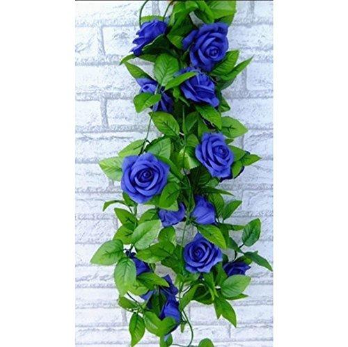 Crazy Shop, Girlande aus künstlichen Seidenblumen zum Aufhängen, Rosen, 2,5 m, für Valentinstag / Zuhause / Hochzeit / Garten / Dekoration, Blau, 2 Stück