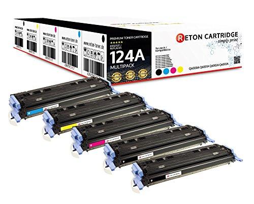 Original Reton Toner, kompatibel, 5er Farbset für HP CM1015 (Q6000A, Q6001A, Q6002A, Q6003A), HP 124A, 1600, 2600N, 2600DN, 2605, 2605DN, 2605DTN, CM1015, CM1015MFP, CM1017, CM1017MFP