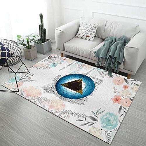 HXJHWB Tappeto Pelo Lungo Misure - Soggiorno Divano tavolino Tappeto Semplice Motivo Geometrico Foglia Fiore Piccolo fresco-120 cm x 160 cm