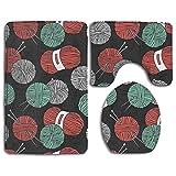 Aubrdon Set de alfombras de baño, tapete de baño de 3 Piezas, Linda Lana de Tejer