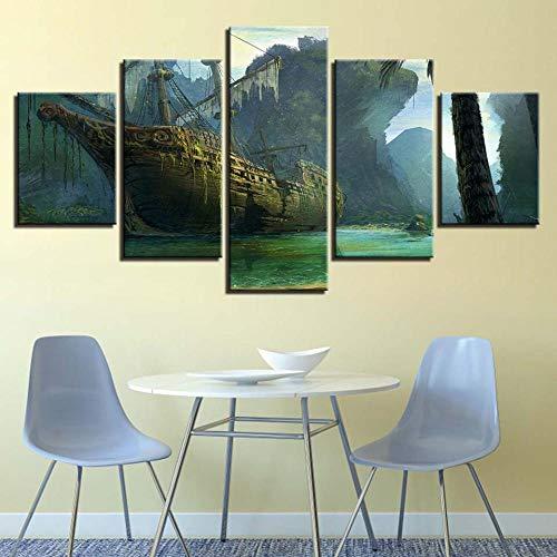 wjdymx canvas afdrukken Hd Prints Afbeeldingen Home muurkunst 5 stuks Elastieken zeilboot Mountain View Poster schilderijen woonkamer decoratie