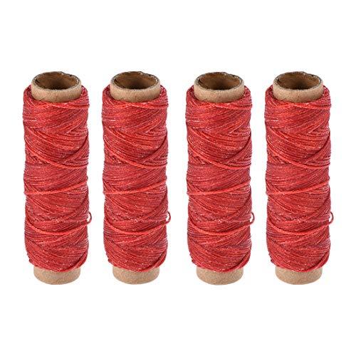 sourcing map - Hilo de coser de cuero, 150 D/1 mm de poliéster, cuerda encerada plana para costura a mano, encuadernación de cuero, manualidades, color rojo, 4 unidades