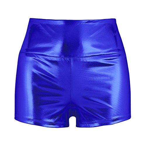 YOOJIA Mujer Sexy Pantalones Cortos Deportivos de Danza Ejercicio Gimnasia Hot Short Metálico Brillante Clubwear Azul XS