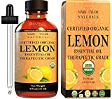 Organic Lemon Essential Oil (4 oz), USDA Certified by Mary Tylor Naturals, 100% Pure Essential Oil, Therapeutic Grade, Perfect for Aromatherapy, Relaxation, DIY, Improved Mood