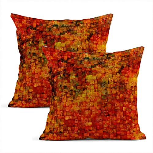 Zynii Set Of Two Throw Cushion Covers Decorative Vintage Mosaic Abstract Aged Aging Ancient 20 x 20 Inch Pillow Case Home Car Sofa Office Meeting Room Decor Cushion Pillowcase