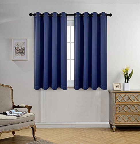 Miuco 2 Panels Room Darkening Thermal Insulated Grommet Window Blackout Curtains for Bedroom 63 Inches Long Navy Blue