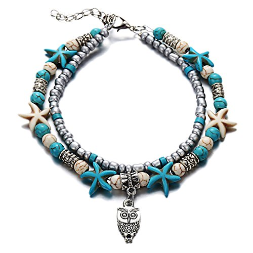 KENYG Women Fashion Double-Layer Elephant Wave Tree Heart Beads Anklets Bracelet Beach Foot Anklet Accessories (owl)