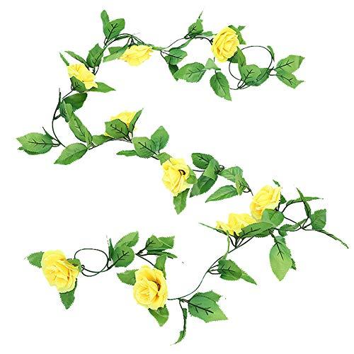 HotYou Guirnalda de Flores Artificiales de Seda, diseño clásico, para Colgar en Paredes o como decoración de Boda,Amarillo,1 Pieza