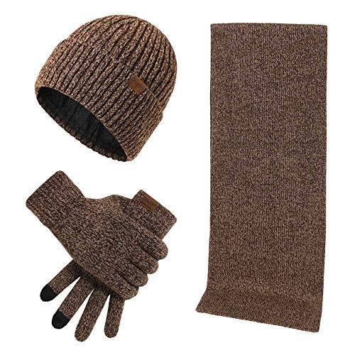 Conjunto de 3 peças de gorro de inverno, luvas de tela sensível ao toque, unissex, para homens e mulheres, Café, M