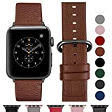 Fullmosa Compatible Watch Bracelet 42mm/44mm(Serie 4) Cuir Véritable, Bracelet Watch Series 4 3 2 1,Nike+ Hermes & Edition,42mm 44mm Brun+Boucle Bronze