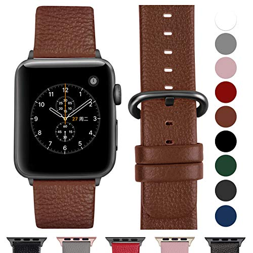 Fullmosa Cinturino per Apple Watch 42 mm/44 mm, Cinturino Pelle Compatibile con Apple Watch Serie 5, Serie 4, Serie 3, Serie 2, Serie 1, Sport, Nike+, Hermès, Edition, Marrone + Fibbia Grigia fumé