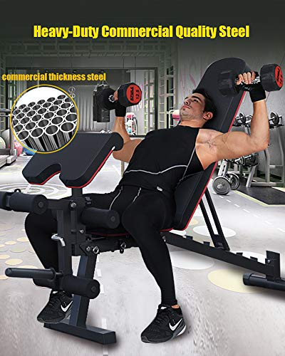 EXF Weight Bench, with Leg Extension and Leg Curl Adjustable Strength Training Bench for Full Body Workout Bench Load 661LBS