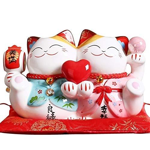 King Boutiques Maneki Neko Maneki Neko Adorno de 9 Pulgadas Boda Pareja de cermica afortunada del Gato Decorativo del hogar Feng Shui Craft Hucha Estatua (Color : B)
