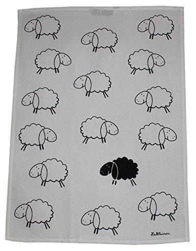 Triolino Halbleinen Geschirrtuch Küchentuch Trockentuch Schwarzes Schaf Format 50 cm x 70 cm