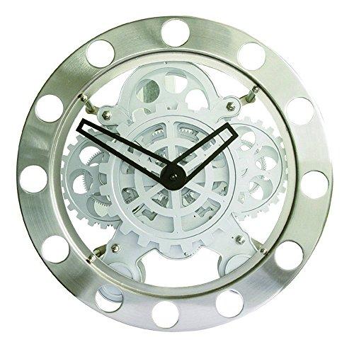 Majestic CLW 271 - Orologio da parete con ingranaggi a vista, diametro 35.5 cm, Silver