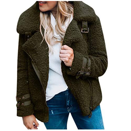 YSLMNOR Plush Keep Warm Jacket Women Short Outercoat Fashion Solid Color Outwear Winter Pockets Coat Army Green