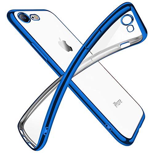 iPhone SE ケース 第2世代 iPhone8 ケース iPhone7 ケース 2020年新型 クリア 透明 tpu シリコン メッキ加工 スリム 薄型 4.7インチ スマホケース 耐衝撃 ストラップホール 黄変防止 一体型 人気 携帯カバー ブルー