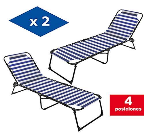 VIP HOGAR Pack 2 Tumbonas/Cama Multiposiciones Reclinables y Plegables para Jardín/Playa con Tejido para Exterior (Azul y Blanco)