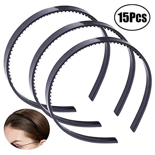 JZZJ Plastic Hoofdband DIY Haarband Haar Hoop met Tanden voor Mannen en Vrouwen, 15 Stuks (Zwart)
