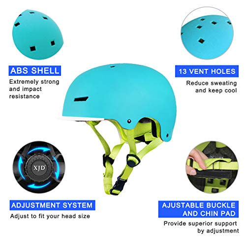 XJD Kids Helmet Toddlers Bike Helmet Adjustable Skateboard Helmet CE Certified Impact Resistance with removable Visor for Skateboard Bike BMX Scooter for 3-13 Years Old Boys/Girls Upgrade 2.0
