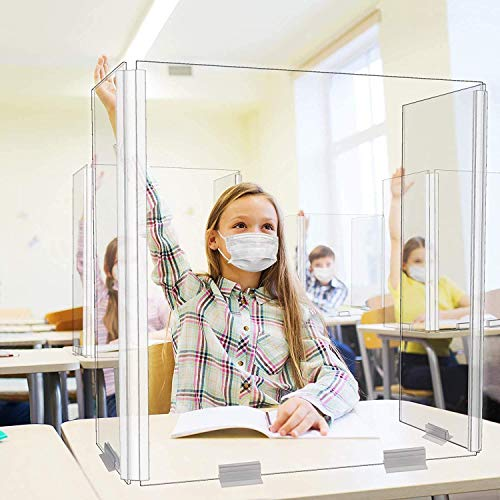 Student Anti Sneeze Plexiglass Shield - Mounted on Table, Desk for Kids, Office desk protector, School Desk Folding Face Protection, sneeze guard for desk plexiglass divider Made in USA