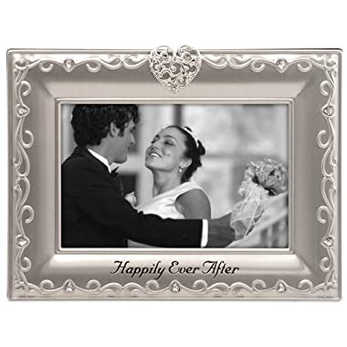 Malden International Designs Wedding Happily Ever After Picture Frame, 4x6, Silver