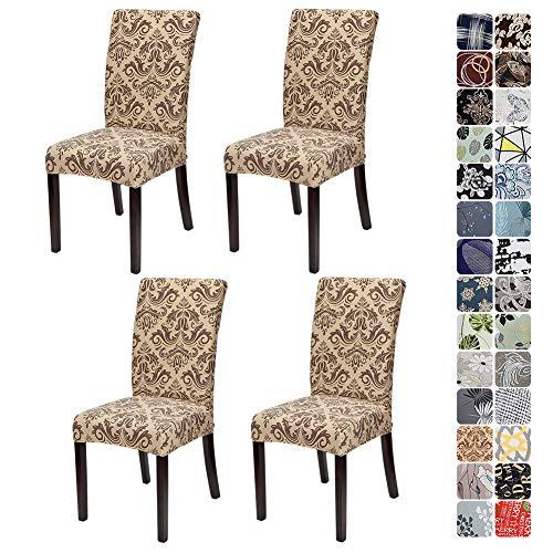 JOTOM Stuhlhussen Universal Stretch Stuhlbezug Elastische Moderne Stuhl Hussen Set Abnehmbare Dekoration Stuhlabdeckung für Esszimmer Party Hotel Restaurant Deko (Barock A, 4er Set)