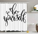 Rideau de douche, rideau de douche bébé Rideau de douche Naitical être vous-même Inscription Motivation Inspiration Positive Imperméable Décor Salle de bain Tissu Polyester Design Set avec crochets