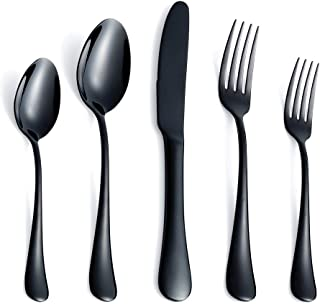 Black Silverware Set, 20 Piece Stainless Steel Flatware, Heavy Weight Cutlery Eating Utensils, Forks Knives Spoons Service for 4, Mirror Finish Dishwasher Safe