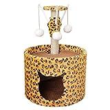 QIAOLI Árbol de Gato, Torre de Gato con Gran Tablero de rasguños, árbol de Actividad de Gato con Postes Cubiertos de sisal, Cueva de Gato y Pelota Colgando para Gatitos