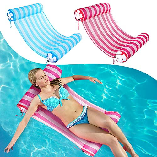 AIWAN LEZHI 2-Pack Premium Swimming Pool Float Hammock, Comfortable Inflatable Swimming Pools Lounger, Water Hammock Lounge (Pink,Blue)